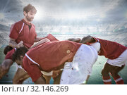 Купить «Composite image of male rugby players playing rugby in the ground», фото № 32146269, снято 31 марта 2020 г. (c) Wavebreak Media / Фотобанк Лори