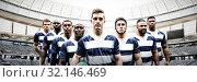Купить «Composite image of rugby team», фото № 32146469, снято 31 марта 2020 г. (c) Wavebreak Media / Фотобанк Лори