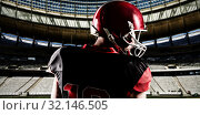 Купить «Composite image of american football player in helmet looking off to the side», фото № 32146505, снято 15 сентября 2019 г. (c) Wavebreak Media / Фотобанк Лори