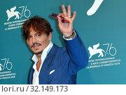 Купить «Johnny Depp during 'Waiting for the Barbarians' film photocall, 76th venice Film Festival, Venice 06/09/2019.», фото № 32149173, снято 6 сентября 2019 г. (c) age Fotostock / Фотобанк Лори