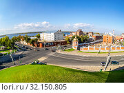 Купить «Fisheye view from height on Volga river, city crossroad», фото № 32150805, снято 22 сентября 2018 г. (c) FotograFF / Фотобанк Лори