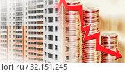 Купить «Красные  стрелки на фоне новых жилых домов  . Концепция изменения рынков недвижимости  .», фото № 32151245, снято 1 января 2020 г. (c) Сергеев Валерий / Фотобанк Лори