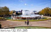 Купить «The magic fountain in the Plaza of Spain in Barcelona. Catalonia, Spain», видеоролик № 32151285, снято 7 сентября 2019 г. (c) Наталья Волкова / Фотобанк Лори
