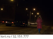 Купить «Girl walking at night along the road», фото № 32151777, снято 6 декабря 2018 г. (c) Юрий Бизгаймер / Фотобанк Лори