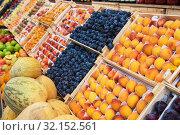 Купить «Assortment of fruits at market», фото № 32152561, снято 10 июля 2019 г. (c) Jan Jack Russo Media / Фотобанк Лори