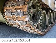 Купить «Caterpillar of the Russian armored tank», фото № 32153501, снято 5 мая 2018 г. (c) FotograFF / Фотобанк Лори