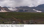 Купить «Вулканический ландшафт, горный пейзаж полуострова Камчатка. Time lapse», видеоролик № 32154069, снято 31 августа 2019 г. (c) А. А. Пирагис / Фотобанк Лори