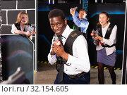Купить «Afro businessman playing laser tag», фото № 32154605, снято 4 апреля 2019 г. (c) Яков Филимонов / Фотобанк Лори