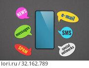 Купить «Black smartphone with callouts over grey», фото № 32162789, снято 26 августа 2019 г. (c) Anton Eine / Фотобанк Лори