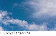 Купить «Облака движутся по небу, натуральный природный фон. Time lapse», видеоролик № 32166341, снято 11 сентября 2019 г. (c) А. А. Пирагис / Фотобанк Лори