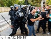 Купить «September 11, 2019 - Manifestation against the catalan politicians in fron of the Catalonia Parliament in Barcelona.», фото № 32169181, снято 11 сентября 2019 г. (c) age Fotostock / Фотобанк Лори