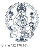 Купить «Ganesh Puja linear style icon black», иллюстрация № 32170161 (c) Седых Алена / Фотобанк Лори