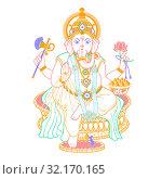Купить «lord Ganesh linear style icon», иллюстрация № 32170165 (c) Седых Алена / Фотобанк Лори