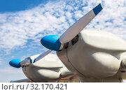 Купить «Turbine of russian small turboprop aircraft», фото № 32170421, снято 13 апреля 2019 г. (c) FotograFF / Фотобанк Лори
