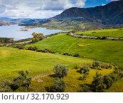 Panoramic view over Embalse de Zahara inland lake, Andalusia, Spain (2019 год). Стоковое фото, фотограф Яков Филимонов / Фотобанк Лори