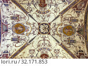 Architectural detail of painted vault in the 1st courtyard of the Palazzo Vecchio designed by the architect Michelozzo, Centro Storico, Firenze, Tuscany, Italy. Стоковое фото, фотограф Cahir Davitt / age Fotostock / Фотобанк Лори