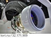 Международный авиационно-космический салон МАКС-2019. Перспективный турбореактивный двигатель ПД-14 на стенде Объединенной двигателестроительной корпорации. Редакционное фото, фотограф Игорь Долгов / Фотобанк Лори