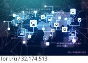 virtual computer network and world map. Стоковое фото, фотограф Syda Productions / Фотобанк Лори