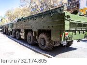 Купить «Russian mobile ballistic missile system 9K720 Iskander», фото № 32174805, снято 5 мая 2018 г. (c) FotograFF / Фотобанк Лори