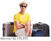 Купить «Happy young man going on summer vacation isolated on white», фото № 32175373, снято 20 октября 2017 г. (c) Elnur / Фотобанк Лори