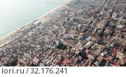 Купить «Aerial panoramic view of modern cityscape of Badalona in sunny day, Spain», видеоролик № 32176241, снято 19 января 2019 г. (c) Яков Филимонов / Фотобанк Лори