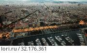 Купить «View from drones of sailboats and yachts in old port of Barcelona and gothic quarter at night», видеоролик № 32176361, снято 28 сентября 2018 г. (c) Яков Филимонов / Фотобанк Лори