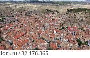 Купить «High view of Calatayud and buildings at sunny day, Province of Zaragoza, Spain», видеоролик № 32176365, снято 21 июня 2019 г. (c) Яков Филимонов / Фотобанк Лори