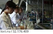 Купить «International group of students chemists working in university research laboratory performing experiments on lab equipment», видеоролик № 32176409, снято 28 мая 2019 г. (c) Яков Филимонов / Фотобанк Лори