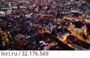 Купить «Aerial view of Valladolid at twilight. Spain», видеоролик № 32176569, снято 22 октября 2019 г. (c) Яков Филимонов / Фотобанк Лори