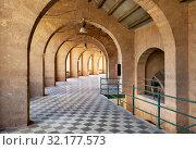 Inside of bullring coliseum of Palma de Mallorca, empty archway inside of old historic building, Balearics Islands, Spain (2018 год). Стоковое фото, фотограф Alexander Tihonovs / Фотобанк Лори