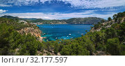 Panorama of bay with luxury yachts rocky mountains of Cala Blanca Andratx, Mallorca, Spain (2019 год). Стоковое фото, фотограф Alexander Tihonovs / Фотобанк Лори