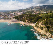 Купить «View from drone on seascape of Costa Brava», фото № 32178201, снято 28 мая 2018 г. (c) Яков Филимонов / Фотобанк Лори