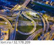 Купить «Night view of overpass interchange», фото № 32178209, снято 10 сентября 2018 г. (c) Яков Филимонов / Фотобанк Лори