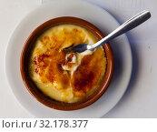 Купить «Tasty dessert catalana crema served with caramel crust, nobody», фото № 32178377, снято 16 сентября 2019 г. (c) Яков Филимонов / Фотобанк Лори
