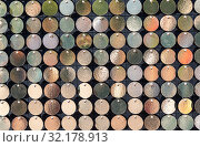 Купить «Background from small round metal plates», фото № 32178913, снято 9 сентября 2018 г. (c) FotograFF / Фотобанк Лори