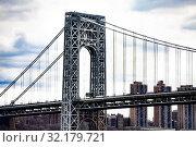 Купить «Close view of George Washington Bridge in New York», фото № 32179721, снято 17 апреля 2018 г. (c) Сергей Новиков / Фотобанк Лори