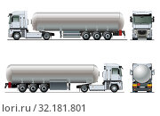Купить «Vector realistic tanker truck template isolated», иллюстрация № 32181801 (c) Александр Володин / Фотобанк Лори