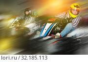 Купить «People driving go-kart cars», фото № 32185113, снято 18 марта 2019 г. (c) Яков Филимонов / Фотобанк Лори