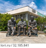 Купить «Livadia, Crimea - July 10. 2019. Monument to Stalin, Roosevelt and Churchill for anniversary of conference in Yalta in 1945», фото № 32185841, снято 10 июля 2019 г. (c) Володина Ольга / Фотобанк Лори
