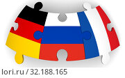 Сотрудничество России, Германии и Франции. Стоковая иллюстрация, иллюстратор WalDeMarus / Фотобанк Лори