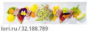 Купить «Tasty roasted tuna with mango and avocado», фото № 32188789, снято 27 января 2020 г. (c) Яков Филимонов / Фотобанк Лори