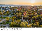 Вид сверху на центр города Петрозаводска. Рассвет. Стоковое фото, фотограф Сергей Цепек / Фотобанк Лори