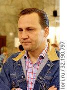 16 5 2008 Warsaw, Poland. Pictured: Radoslaw Sikorski. Редакционное фото, фотограф Rafal Nowak 0048 601408155 / age Fotostock / Фотобанк Лори