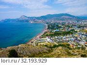 Вид с вершины мыса Алчак в сторону города Судак, Крым (2019 год). Стоковое фото, фотограф Natalia Sidorova / Фотобанк Лори
