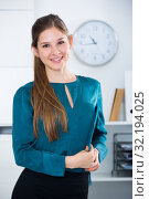 Купить «Businesswoman with clipboard in office», фото № 32194025, снято 31 июля 2017 г. (c) Яков Филимонов / Фотобанк Лори