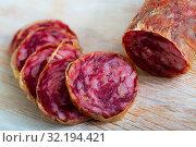 Купить «Spanish dry cured pork sausage Salchichon», фото № 32194421, снято 20 сентября 2019 г. (c) Яков Филимонов / Фотобанк Лори