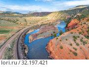 Upper Colorado River below McCoy, Colorado - aeiral view. Стоковое фото, фотограф Zoonar.com/Marek Uliasz / easy Fotostock / Фотобанк Лори
