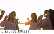 friends toasting non alcoholic drinks on beach. Стоковое видео, видеограф Syda Productions / Фотобанк Лори