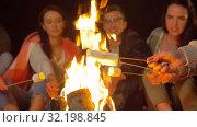 Купить «friends roasting marshmallow on camp fire at night», видеоролик № 32198845, снято 9 сентября 2019 г. (c) Syda Productions / Фотобанк Лори