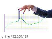 Купить «Businessman controlling the market with strings», фото № 32200189, снято 5 декабря 2019 г. (c) Elnur / Фотобанк Лори